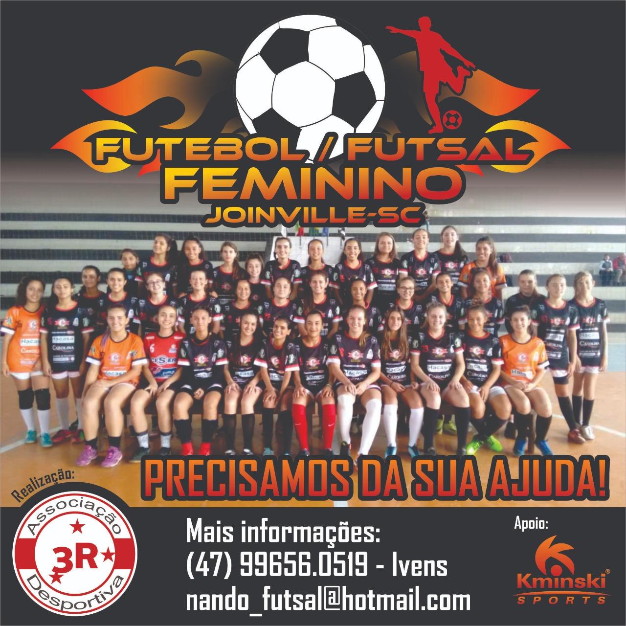 Equipe de futebol e futsal feminino de Joinville busca apoiadores ... 088a36cb51218